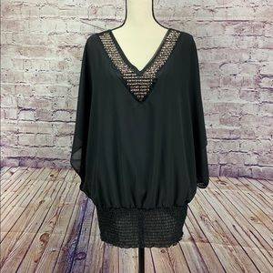 Torrid Black Embellished V Neck Blouse